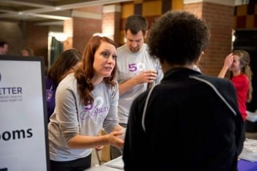 Students in all DMU programs, including the M.P.H. program, share information and resources at the University's largest student-run event, the annual Senior Health fair.