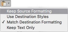 """Click """"Keep Source Formatting"""" after pasting."""