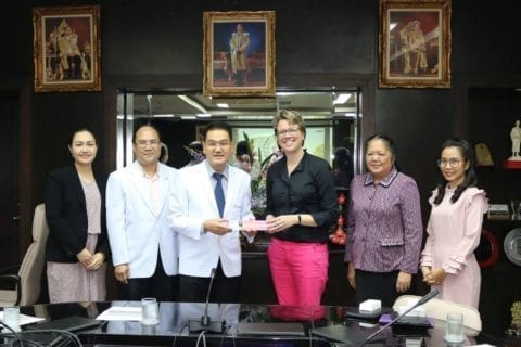 Sondra Schreiber, Director of Global Health meeting with deans and administrators at Chiang Mai University in Thailand.