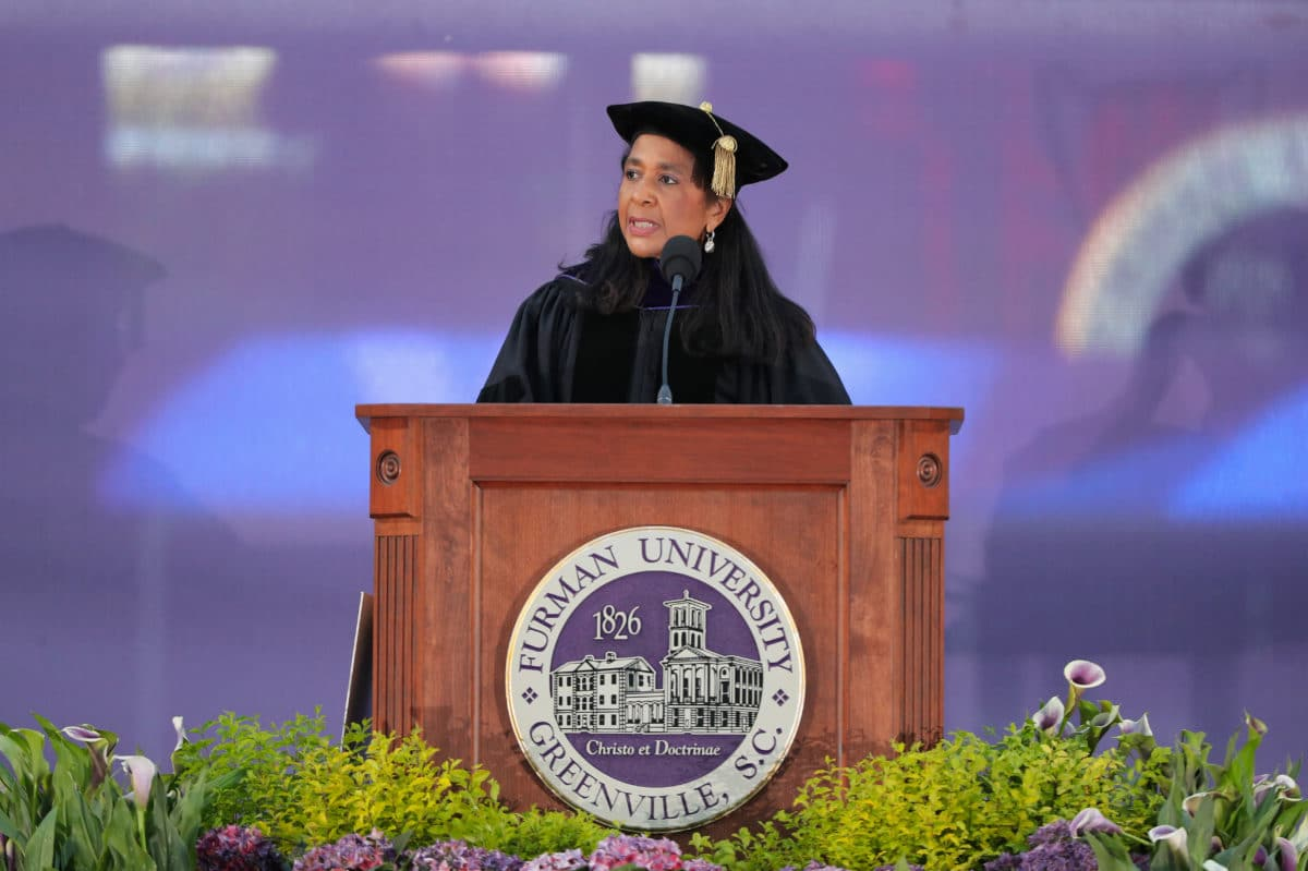 Dr. Angela Franklin - Commencement - Spring 2021 Angela Walker Franklin '81, the 15th president of Des Moines University in Iowa