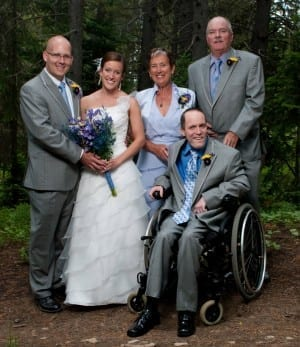 DMU alumni Ashlee Mickle Brozak and Shannon Brozak, with Ashlee's parents Gwen and Jack, made sure her brother, Aaron, had a role in their wedding.