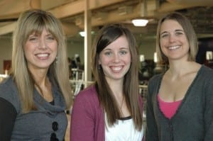 Three more great reasons to exercise: DMU's very supportive Wellness Program staff members, Joy Schiller, Nicole Frangopol and Missy Gripp