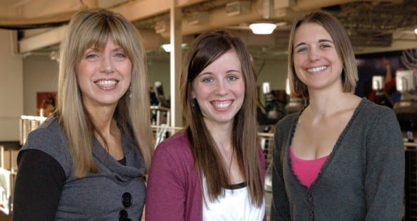 It ta kes a team : Key players in making possible DMU's platinum wellness status are Wellness Director Joy Schiller, M.S., CHES; Nicole Frangopol, wellness specialist; and Missy Gripp, M.S., wellness center manager.