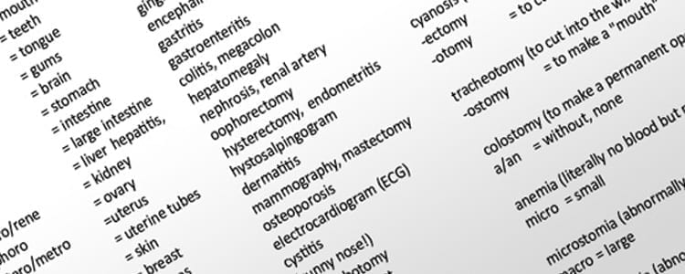 Geology medical terminology in college subjects