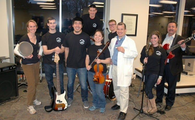 Muscle Energy members include (from left) Lindsay Brewster, Julian Cammarano, Andrew Chang, Brian Tacke, Grace Ouyang, Logan Kolb, Jose Figueroa, Allison Zindell and Rich Salas. DMU students Erika Grey, Jude Rooney Harris, Adam Singer and Janean Wedeking, as well as her husband, Derek, also have performed with the group.