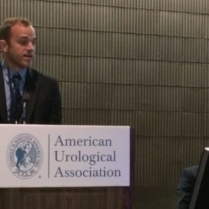 Aaron Shoskes, D.O.'18, presents his research at the American Urological Association Annual Meeting.