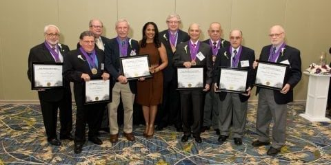 Gold medallion recipients with Board chair Larry Baker and President Angela Franklin at 2014 Reunion and Medallion Ceremony