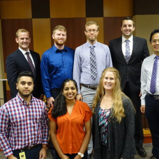 Members of the DMU Health Leaders Board include (in front): Akshay Bhanot, D.O.'21; Anjali Jain, D.O.'21; Amanda Dolley, D.O.'21, M.H.A.'22; (standing): Blake Bonnicksen, M.H.A.'21; Chris Moyer, D.O.'21, M.H.A.'22; Phil Jurasinski, D.O.'21, M.P.H.'22; Ryan Danielson, D.P.T.'19, M.H.A.'22; and the club's faculty advisor, Darren Liu, Dr.PH., associate professor of public health.