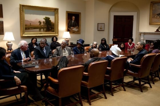 WhiteHouse.gov photo of civil rights discussion on Martin Luther King, Jr. Day. DMUs Willie Glanton is directly across the table from President Obama.