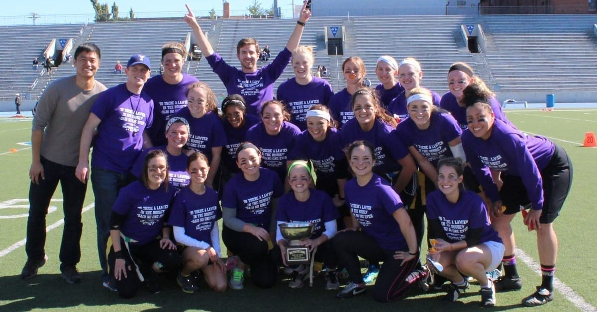 The DMU women's team took home the Malpractice Bowl trophy.