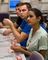 Students at the basic surgical skills course
