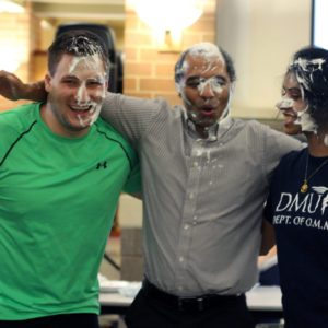 Professor Muhhamad Spocter gets pied at St. Baldrick's Day.