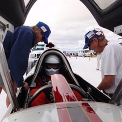 Breaking speed records is Jeannie Pflum's idea of fun - and a great way to spend time with her dad, Lee Gustafson. Pflum and friend Seth Hammond prepare Gustafson for a race.